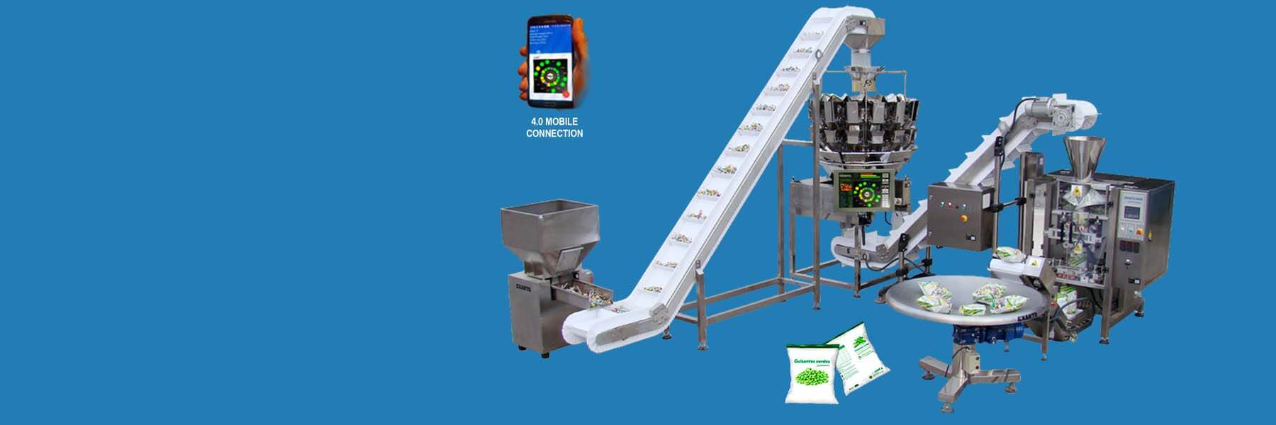 Packaging line horizontal configuration
